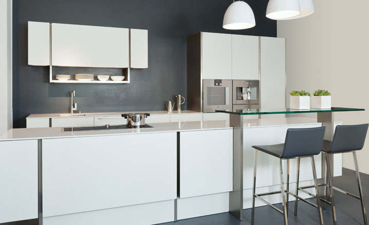 LuxeHome Boutique Poggenpohl is in Suite 138. Poggenpohl features innovative kitchen solutions.