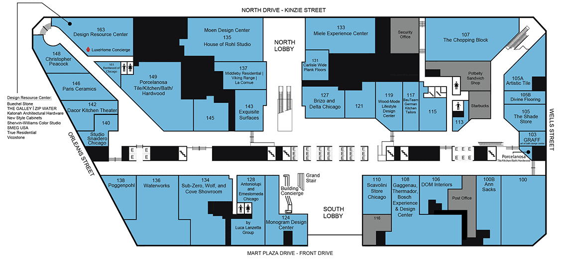 Navigate the 35 LuxeHome Boutiques with the Boutiques Floor Plan